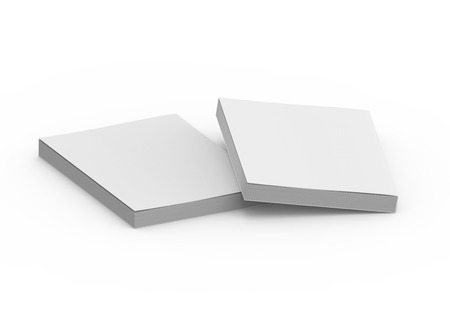 two blank right tilt 3d rendering thick books, isolated white background, elevated view Stock Photo