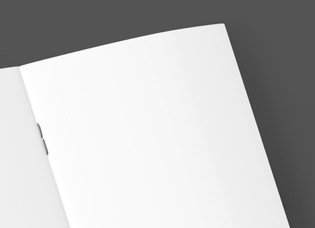 one sheet: upper right part of blank right tilt 3d rendering open brochure, can be used as design element isolated dark gray background, top view, close up Stock Photo