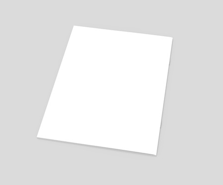 one sheet: blank left tilt 3d rendering brochure, can be used as design element, isolated gray background, top view Stock Photo