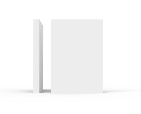 two blank standing 3d rendering thick books that form an angle of ninety degree, isolated white background, side view