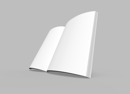 blank left tilt 3d rendering open book, isolated gray background, elevated view Reklamní fotografie