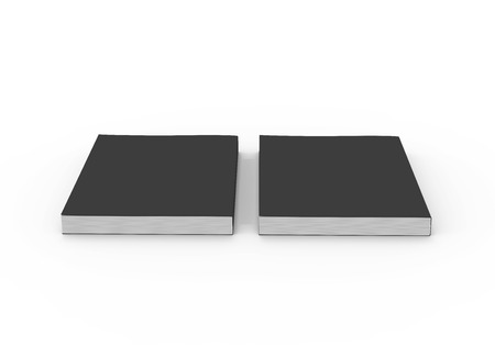 two black blank 3d rendering thick books, isolated white background, elevated view