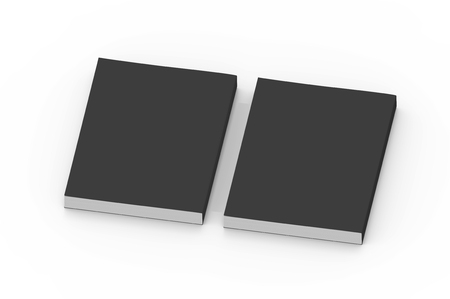 two black blank 3d rendering thick left tilt books, isolated white background, top view