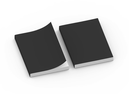 two black blank 3d rendering thick right tilt books, one page turned, isolated white background, top view Stock Photo
