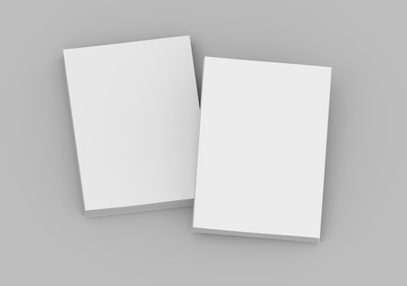 two tilt blank white 3d rendering closed books, isolated gray background, top view