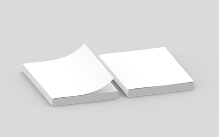 two blank right tilt 3d rendering thick books, one page turned, isolated gray background, elevated view