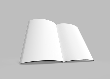 blank right tilt 3d rendering open book, isolated gray background, elevated view
