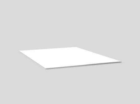 brochure de rendu 3d d'inclinaison droite vierge, peut être utilisée comme élément de conception, fond gris isolé, vue en élévation