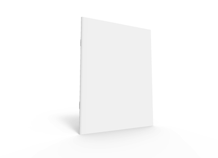 blank right tilt 3d rendering brochure, can be used as design element isolated white background, side view