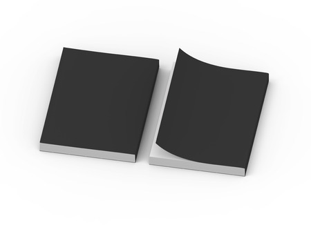 two black blank 3d rendering thick left tilt books, one page turned, isolated white background, top view Stock Photo
