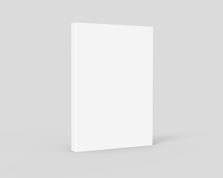 blank 3d rendering thick right tilt book, isolated light gray background, side view