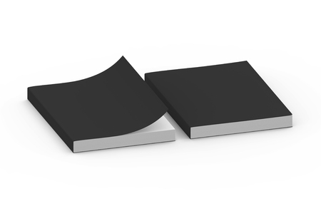two black blank 3d rendering thick right tilt books, one page turned, isolated white background, elevated view Stock Photo
