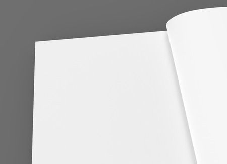 blank right tilt 3d rendering open book upper left part, isolated dark gray background, top view, close up Banco de Imagens
