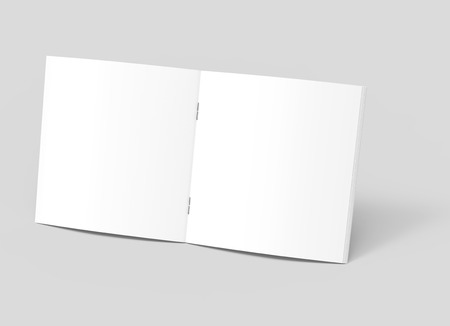 one sheet: blank left tilt 3d rendering open brochure, can be used as design element, isolated gray background, elevated view