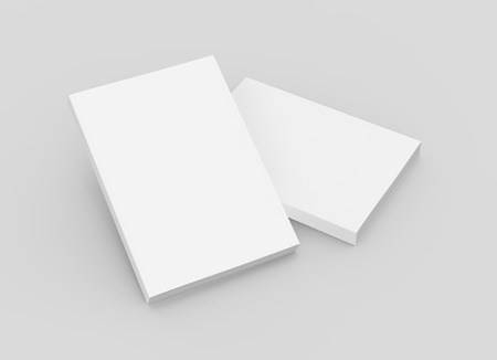 two blank right tilt 3d rendering thick books, isolated gray background, elevated view Stock Photo