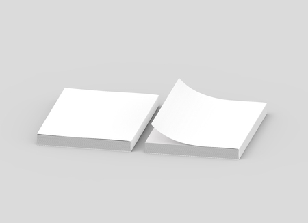 two blank left tilt 3d rendering thick books, one page turned, isolated gray background, elevated view