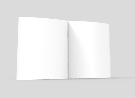 one sheet: blank right tilt 3d rendering open brochure, can be used as design element, isolated gray background, side view, close up Stock Photo
