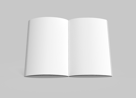 blank 3d rendering open book, isolated gray background, top view