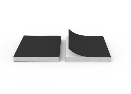 two black blank 3d rendering thick books, one page turned, isolated white background, elevated view
