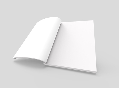 blank left tilt 3d rendering open book, isolated light gray background, elevated view