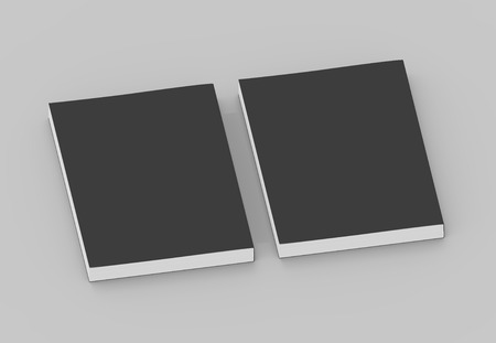 two black blank 3d rendering thick right tilt books, isolated gray background, top view