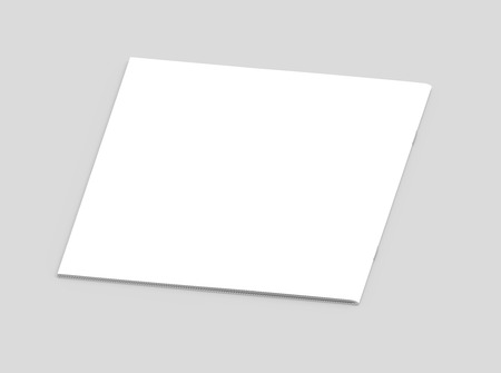 one sheet: blank left tilt 3d rendering brochure, can be used as design element, isolated gray background, elevated view