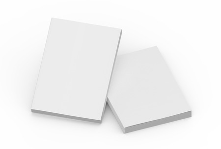 two tilt blank 3d rendering thick books, isolated white background, elevated view