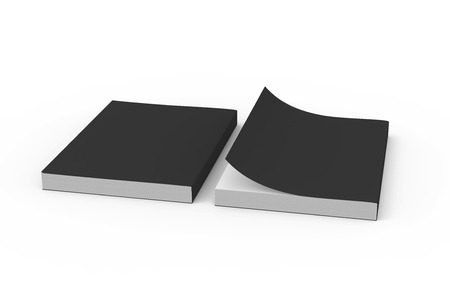 two black blank 3d rendering thick left tilt books, one page turned, isolated white background, elevated view