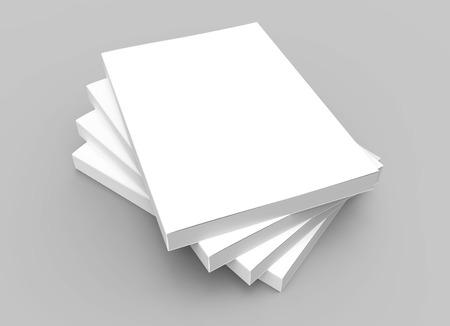 vier stapelen lege gesloten boeken geplaatst in spiraalvormige vorm, geïsoleerde grijze achtergrond, 3D-rendering verhoogde weergave