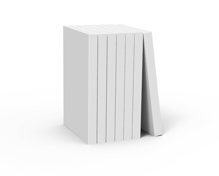 six 3d rendering right tilt blank books placed together and a book leaning on them, isolated white background, elevated view Stock Photo