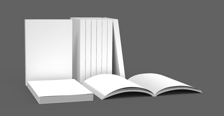 appropriately: appropriately placed book products for exhibition, right tilt and isolated on dark gray background, 3d rendering side view