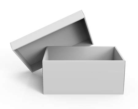 contain: 3d rendering blank open paper box with leaning lid for design use, isolated white background, elevated view