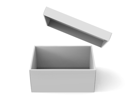 3d rendering blank open paper box with floating lid for design use, isolated white background, elevated view Stok Fotoğraf