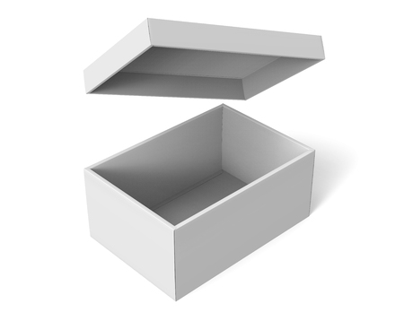 3d rendering blank left tilt open paper box with floating lid for design use, isolated white background, elevated view