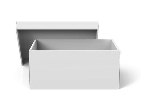 Scatola di carta aperta dello spazio in bianco della rappresentazione 3d con il coperchio pendente per uso di progettazione, fondo bianco isolato, vista elevata Archivio Fotografico - 81214683
