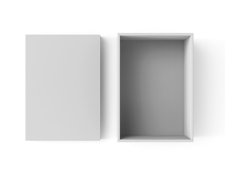 3d rendering blank open paper box with separate lid on the ground for design use, isolated white background, top view