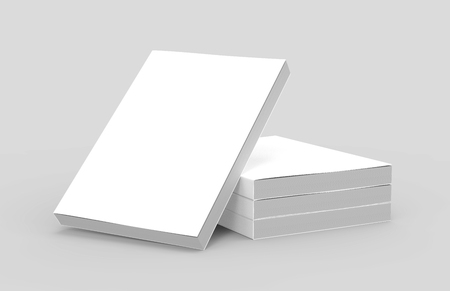 three right tilt books placed on ground and a left tilt book leaning on them, isolated gray background, side view