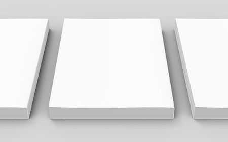 three blank white closed 3d rendering books on the ground, isolated gray background elevated view, close up