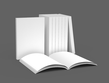 appropriately: appropriately placed book products for exhibition, right tilt and isolated on dark gray background, 3d rendering elevated view