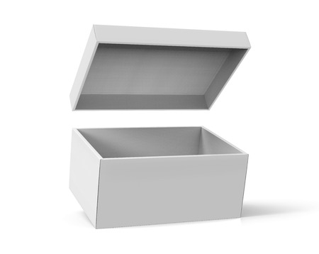 3d rendering slanting blank open paper box with floating lid for design use, isolated white background, elevated view