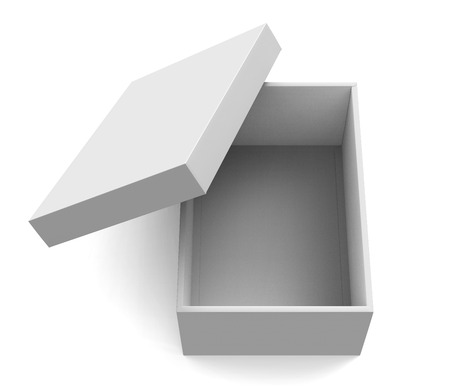 3d rendering blank open paper box with slanting lid for design use, isolated white background, elevated view