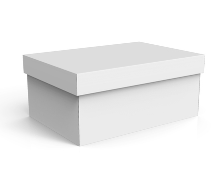 3d rendering blank left tilt closed paper box with lid for design use, isolated white background, elevated view