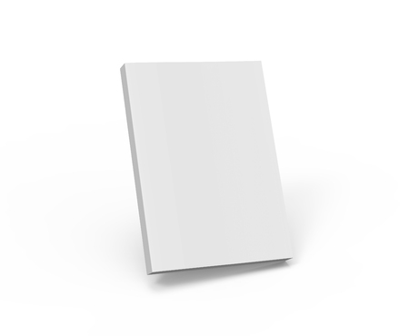 blank right tilt 3d rendering white book, isolated white background, side view