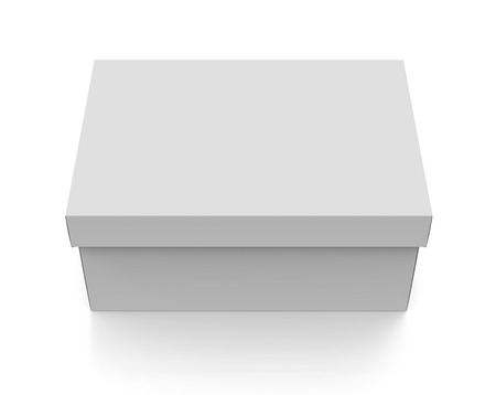 3d rendering blank closed paper box with lid for design use, isolated white background, elevated view