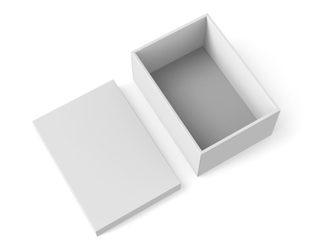 contain: 3d rendering blank right tilt open paper box with separate lid on the ground for design use, isolated white background, elevated view