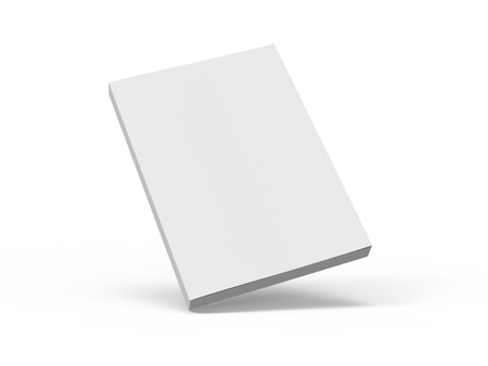 slanting blank 3d rendering white book, isolated white background, elevated view