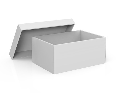 3d rendering blank left tilt open paper box with leaning lid for design use, isolated white background, elevated view Stock fotó