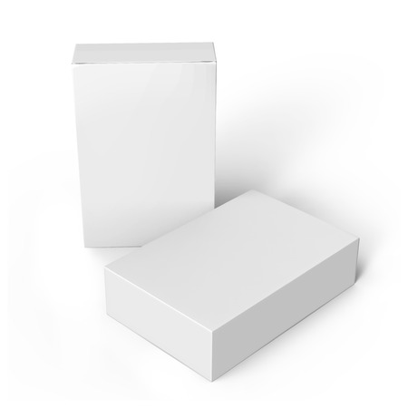 contain: two blank white paper boxes 3d rendering for design use, one left tilt, isolated white background with shadow, elevated view Stock Photo