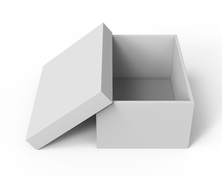 3d rendering blank open paper box with leaning lid for design use, isolated white background, elevated view