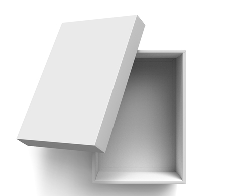 contain: 3d rendering blank open paper box with leaning lid for design use, isolated white background, top view Stock Photo